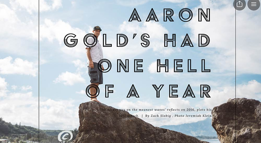 Aaron Gold Surfline article standing on rock