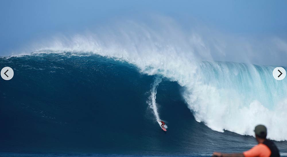 Aaron Gold riding the biggest wave ever paddled into