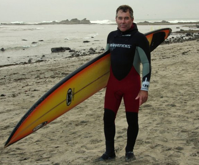Jeff Clark with Surfboard