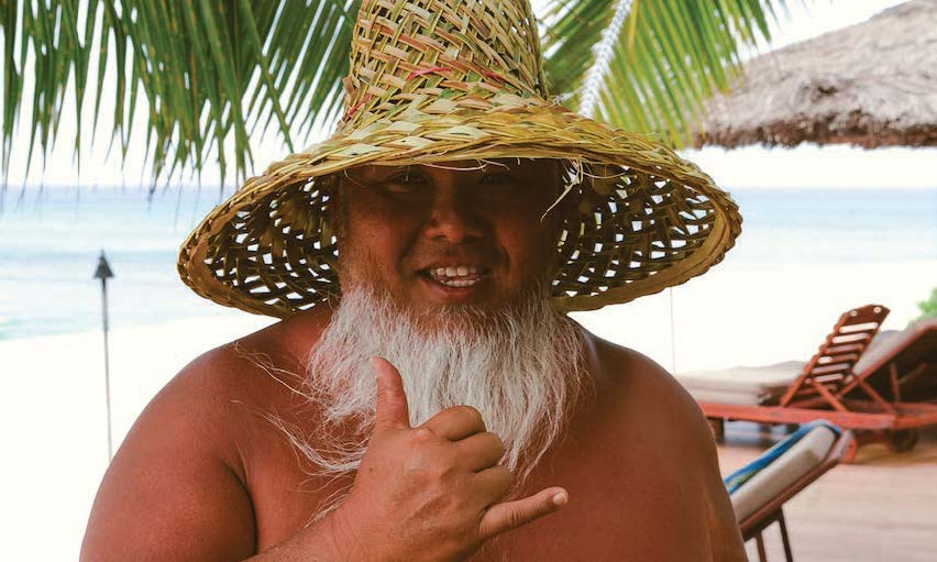 Sumo Sato in Hawaiian hat